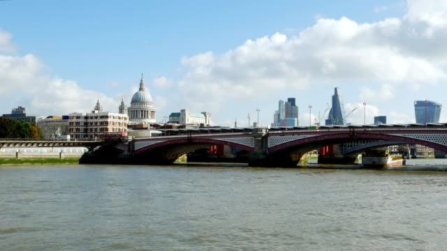 pov blackfriars bridge and the city of london - boat point of view stock videos & royalty-free footage