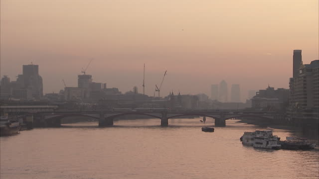 Blackfriars Bridge and the River Thames at dusk London Available in HD.