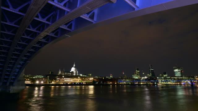 Blackfriars bridge St Paul's and the city of London at night
