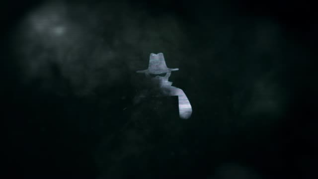 blackhat symbol appearing from smoke and evaporating into particles - hacker stock videos and b-roll footage