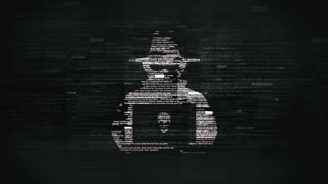 blackhat symbol in glitchy computer screen - cappello video stock e b–roll