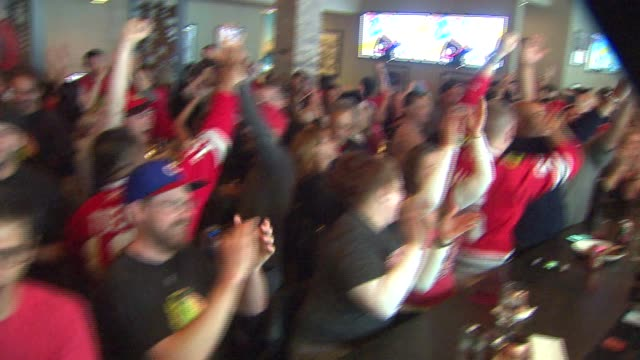 blackhawks fans in a bar cheering after a score during the the first stanley cup playoff game against the anaheim ducks on may 30, 2015. - playoffs stock videos & royalty-free footage