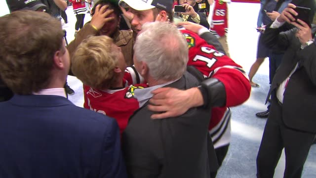 WGN Blackhawks Players On The Ice With Family And Fans After Winning Stanley Cup on June 15 2015 in Chicago Illinois