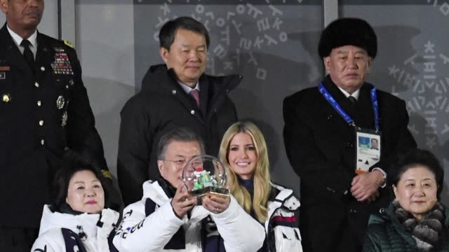 a blacklisted north korean general and the daughter of us president donald trump attend the winter olympics closing ceremony together in the final... - winter olympic games stock videos and b-roll footage