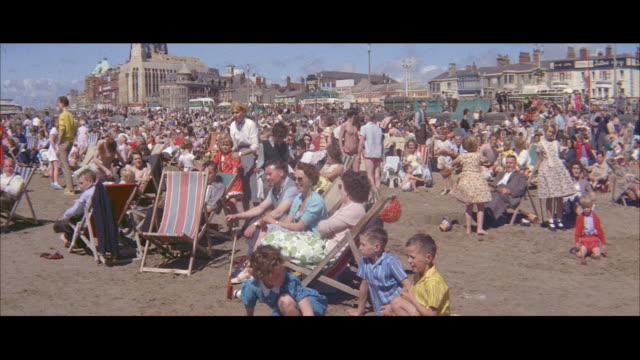 1960 - blackpool - lost children centre at the beach - blackpool stock videos & royalty-free footage