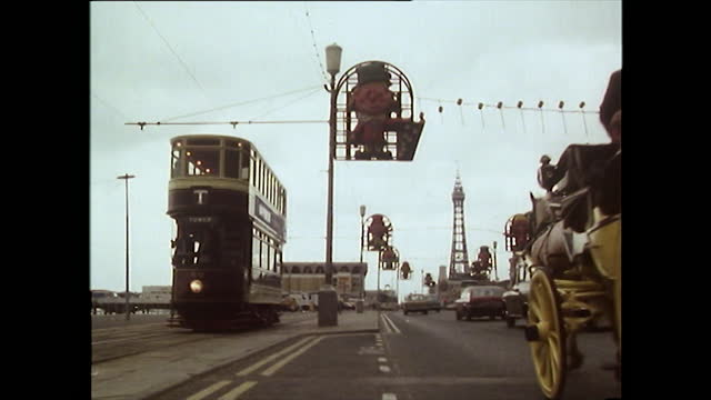 ws blackpool seafront with tram and blackpool tower; 1981 - horse family stock videos & royalty-free footage