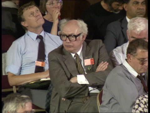tuc conference john prescott listening to jimmy knapp speech / john smith seated beside jack jones during debate on privatisation / roy grantham... - casino floor stock videos & royalty-free footage