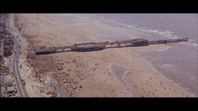 1960 - blackpool - view from tower, crowd people leaving train station - blackpool stock videos & royalty-free footage