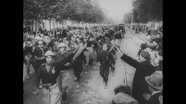 blackshirts marching down the streets/ benito mussolini - marching stock videos & royalty-free footage