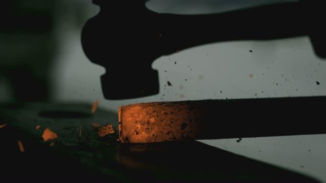 blacksmith hammer cu 01 - milliner stock videos and b-roll footage