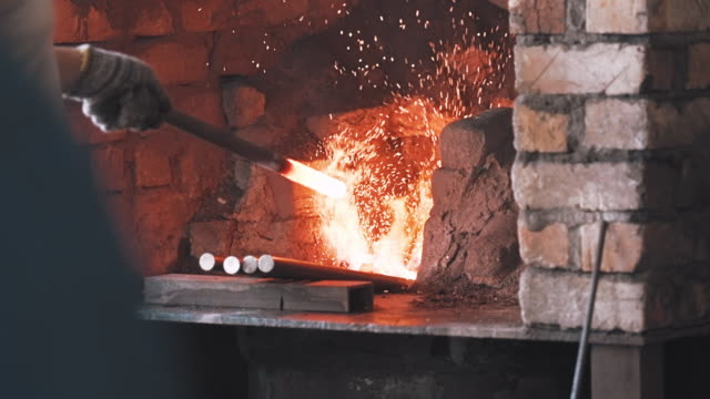 blacksmith in a workshop - iron metal stock videos & royalty-free footage