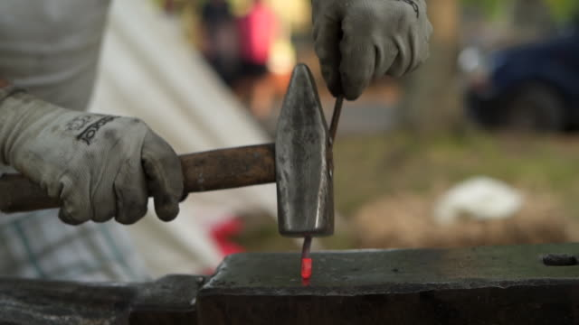 blacksmith making medieval weapon - the crusades stock videos & royalty-free footage
