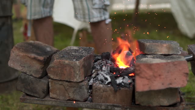 blacksmith preparing fire for his work - the crusades stock videos & royalty-free footage