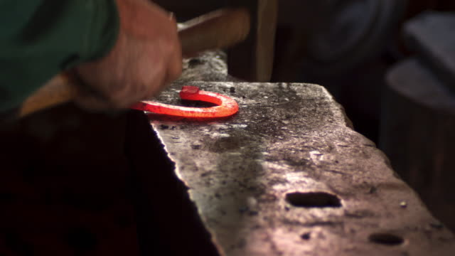 blacksmith - horseshoe stock videos and b-roll footage