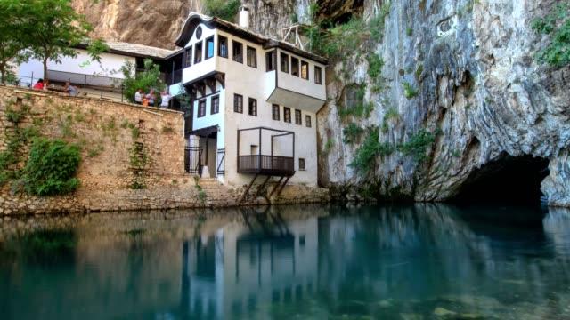 blagaj dervish lodge (establishing shot) - bosnia and hercegovina stock videos & royalty-free footage