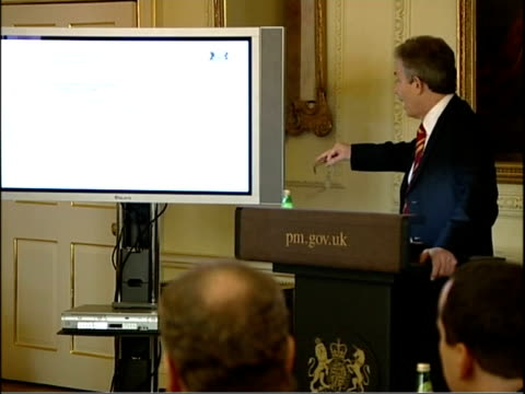 Blair and Reid biometric technology demonstration Various shots of Blair speaking at monitor and delegates listening Close Shot of monitor showing...