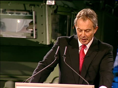blair calls for british military intervention to combat terrorism blair speech on board hms albion however if we make that choice then as we... - an answer titolo di video video stock e b–roll