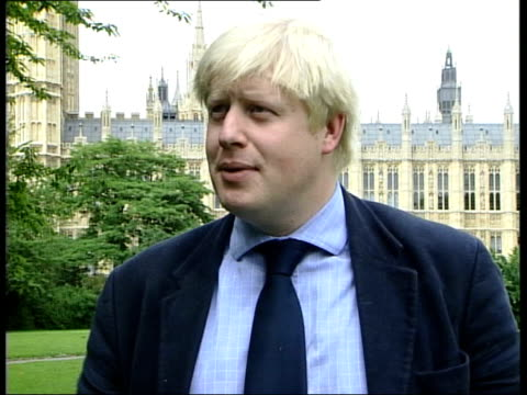 blair drops complaint over queen mother stories; itn england: london: int boris johnson mp interviewed sot - it's important not to gloat, but tee hee... - boris johnson stock videos & royalty-free footage