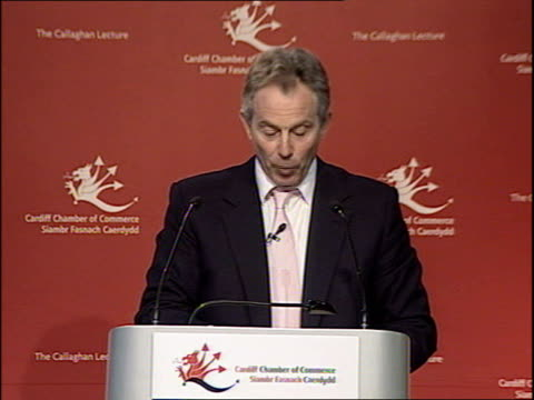 blair gives speech on the regeneration of britain's cities during visit to cardiff tony blair speech sot continues here the public realm we inherited... - first occurrence stock videos & royalty-free footage