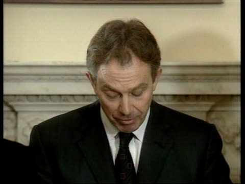 cu blair giving speech about the engagement of british forces in afghanistan/ london england/ audio - 2001 bildbanksvideor och videomaterial från bakom kulisserna
