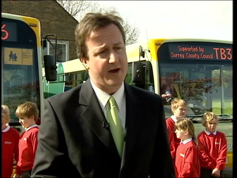 blair hits campaign trail prior to local elections; guildford: tillingbourne school: ext close shot david cameron mp during visit to school general... - charles clarke uk politician stock videos & royalty-free footage