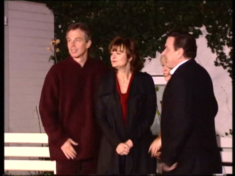 blair in plum outfit meeting german premier gerhard schroeder blair in casual clothes on holiday - plum stock videos & royalty-free footage