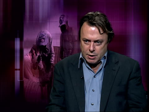 blair justifies during kuwait trip itn england london christopher hitchens interviewed sot americans don't mind whether wmd are found they prefer... - christopher hitchens stock videos & royalty-free footage