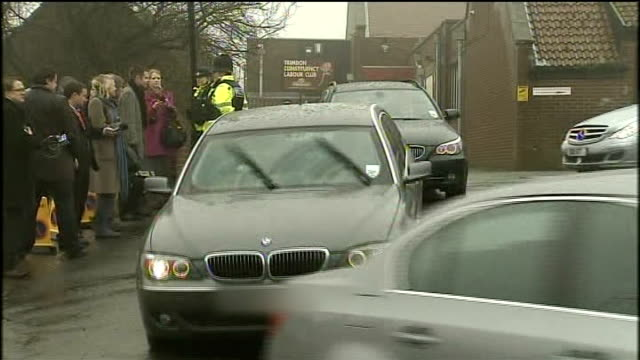 blair motorcade driven away david cameron mp interview sot it's nice to see him making a speech that nobody is paying for - motorcade stock videos & royalty-free footage