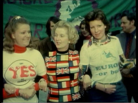Blair Stands By Signing ITN Margaret Thatcher wearing jumper made up of European flags during 'Yes' campaign and soundbite SOT will be decisive yes...