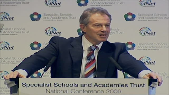 blair unveils school reforms in a level exams; international conference centre: int tony blair mp speech at the specialist schools and academies... - social justice concept 個影片檔及 b 捲影像