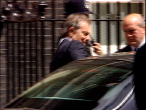 Blair's last Cabinet Cabinet arrivals ENGLAND London Downing Street Number Ten EXT Tony Blair MP out of Number 10 and into car as driven away SOT