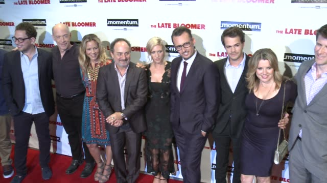 blake cooper, j.k. simmons, maria bello, kevin pollak, brittany snow, ken baker , johnny simmons at 'the late bloomer' premiere in los angeles, ca... - maria bello stock videos & royalty-free footage