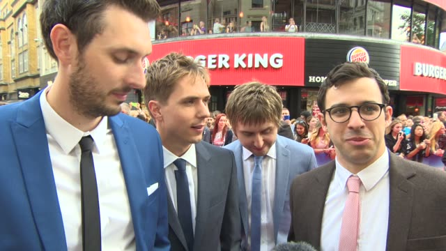 interview blake harrison joe thomas james buckley simon bird on their fans the pressure of the 2nd film the franchise coming to an end the chance of... - franchising stock-videos und b-roll-filmmaterial