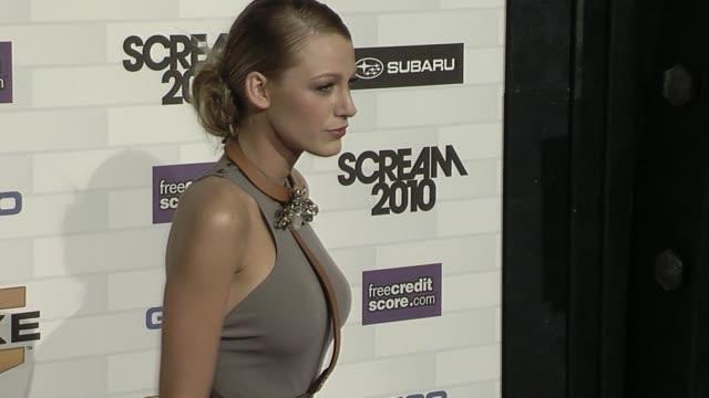 vídeos de stock, filmes e b-roll de blake lively at the spike tv's 'scream 2010' at los angeles ca. - 2010