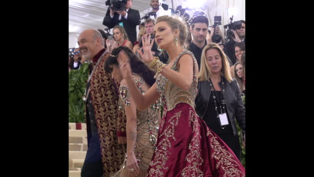 Blake Lively telling the photographers to calm down at the Heavenly Bodies Fashion The Catholic Imagination Costume Institute Gala at The...