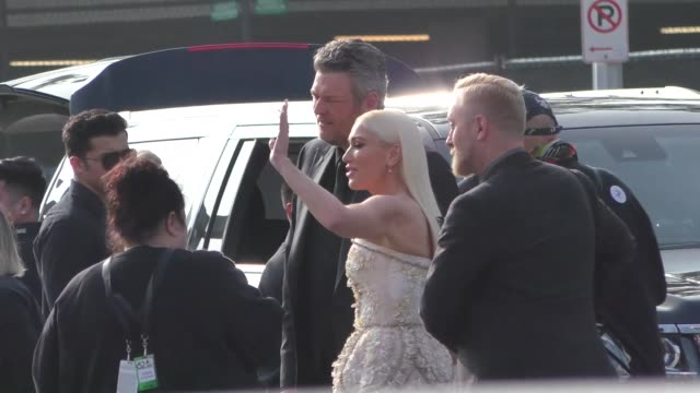 blake shelton & gwen stefani outside grammy awards at staples center in los angeles in celebrity sightings in los angeles, - gwen stefani stock videos & royalty-free footage
