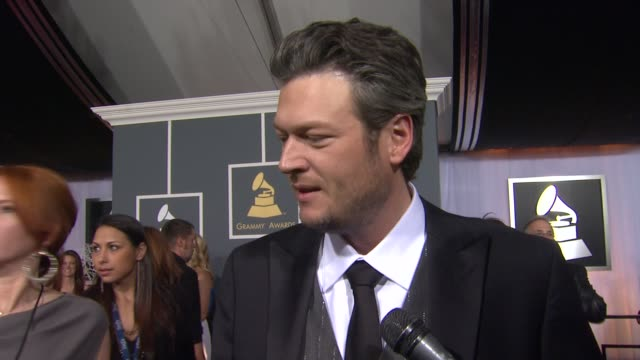 blake shelton on being nominated on wanting to win and on being at the show at 54th annual grammy awards arrivals on 2/12/12 in los angeles ca - neckwear stock videos and b-roll footage