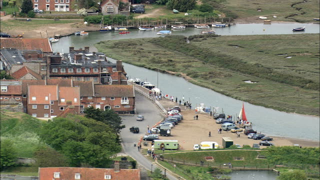 blakeney  - aerial view - england, norfolk, north norfolk district, united kingdom - norfolk england stock videos & royalty-free footage