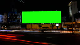 Blank advertising billboard, green screen, time lapse.