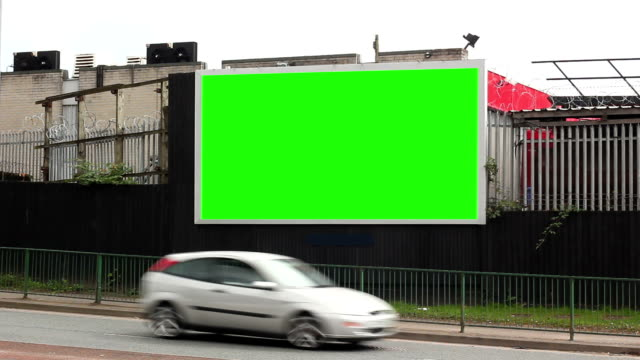 blank advertising billboard (landscape)- green screen - banner sign stock videos & royalty-free footage