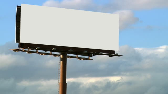 Blank Billboard With Cloud Background Close Up 1080p24