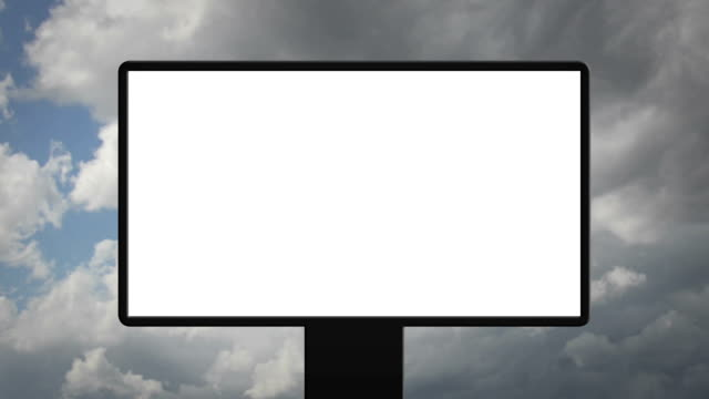 blank billboard with moving clouds - poster design stock videos and b-roll footage