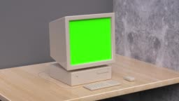blank display green screen computer technology concept 3d rendering motion