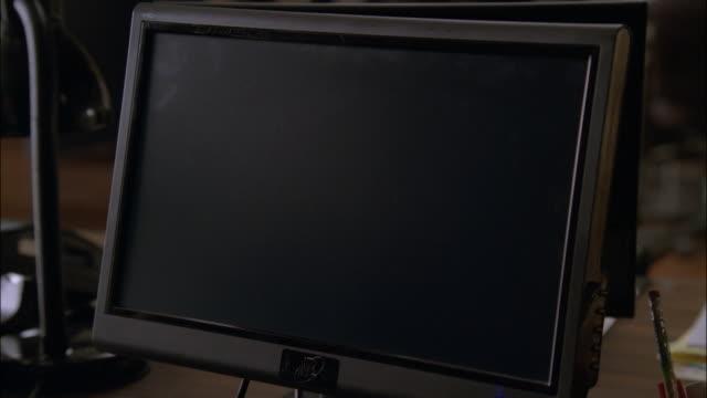 cu blank flat screen monitor / los angeles, california, united states - flat screen stock videos & royalty-free footage