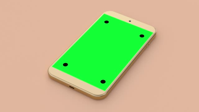 blank green screen display gold smartphone minimal cream scene 3d rendering technology concept - still life video stock e b–roll