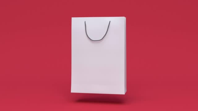 blank paper bag shopping mall business packaging environment concept minimal motion 3d rendering - packet stock videos & royalty-free footage