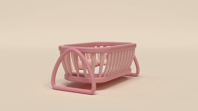 stockvideo's en b-roll-footage met lege roze baby wieg abstract minimale scene 3d rendering - wieg