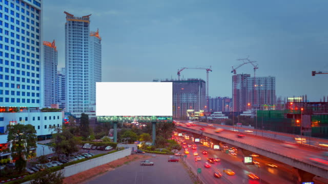 blank screen billboard in bangkok - billboard stock videos & royalty-free footage