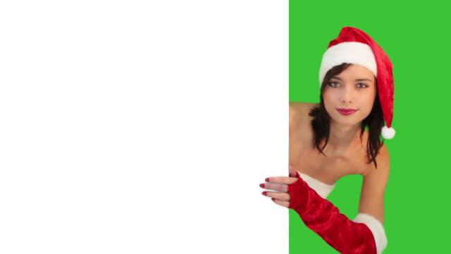 blank sign - christmas - santa hat stock videos & royalty-free footage