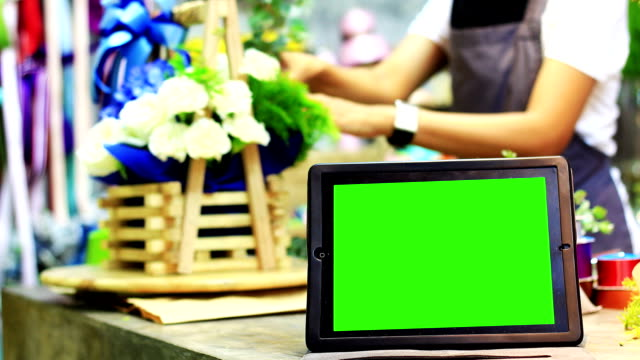 blank tablet pc with a green screen - florist stock videos & royalty-free footage